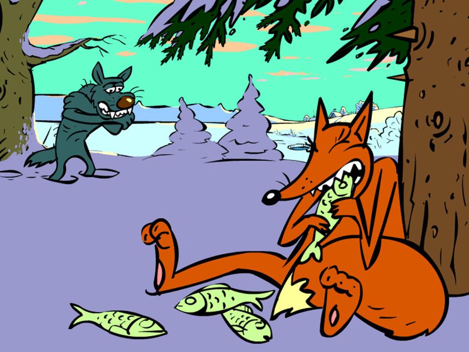 лиса есть рыбу